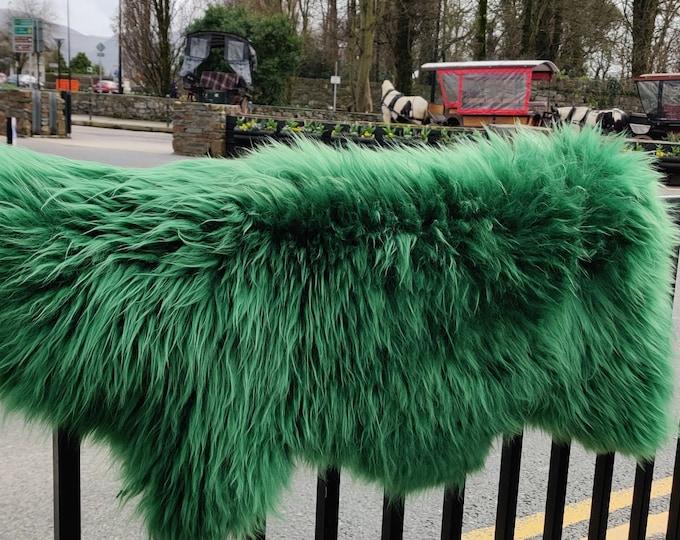 Genuine Irish sheepskin rug -  dyed Emerald green - really soft , thick - free WORLDWIDE shipping from IRELAND