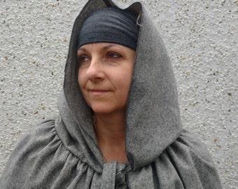 Hooded medieval wool cloak - 100% wool Irish tweed - grey - hooded - HANDMADE IN IRELAND
