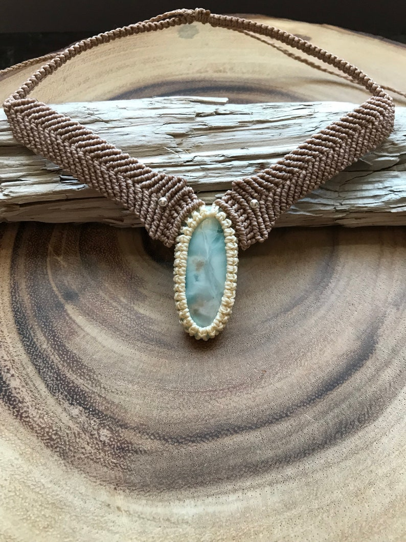 Boho Jewellery Macrame Pendant Larimar Necklace Larimar Macrame Choker Adjustable