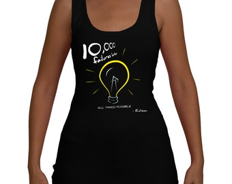 Edison Lightbulb Motivational Women's Yoga Workout Jersey Tank (XS-XXL)