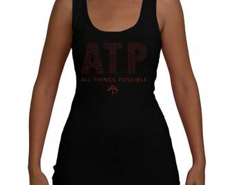 All Things Possible Motivational Women's Yoga Workout Jersey Tank (XS-XXL)