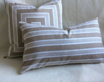 Striped Decorative Pillow Cover Set - Beige/off White