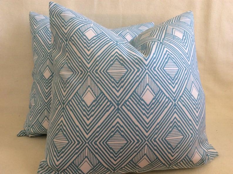 Diamond Pattern Designer Pillow Cover Set  Turquoise/ White  image 0