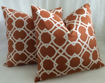 Trellis Pattern Designer Pillow Covers - Nutmeg Brown - 2pc