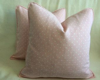 Pindot Designer Pillow Cover Set - Pink/ White Covers With Self Piping - 18x18 Covers - 2pc Set