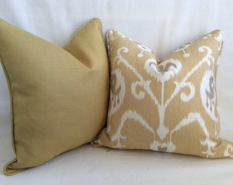 Ikat and Linen Designer Pillow Cover Set  Gold/Taupe/Natural