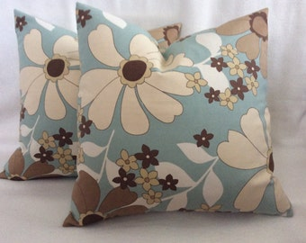 Flower Power Designer Pillow Cover Set - Aqua/Brown/Beige