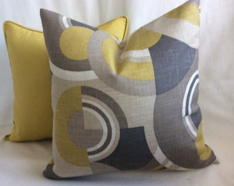Mod Circle Designer Pillow Cover Set -Gray/Lemongrass Yellow-Green