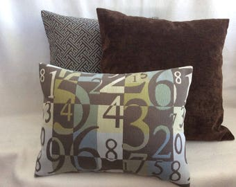 3pc Designer Pillow Cover Set - Blue/ Brown Coordinates