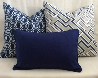 Designer Pillow Cover Set - Blue/Gray - 3pc