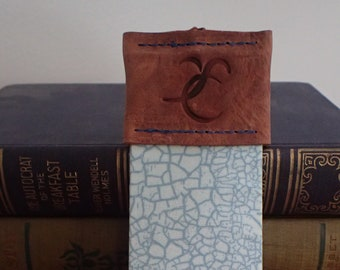 Blue Leather-Topped Bookmark