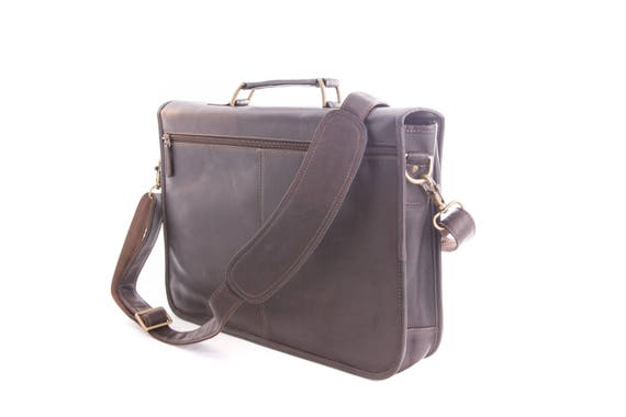 a88ce3510125 Genuine Vaquetta Brown or Tan Leather Briefcase Messenger