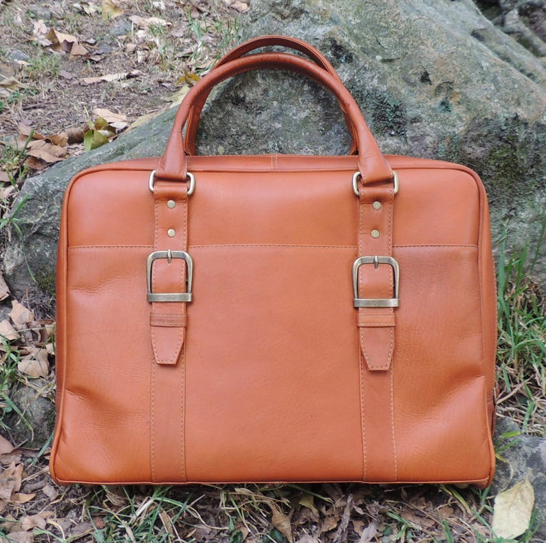 ddc8a89d1318 Genuine Vaquetta Tan Leather Overnight Bag Laptop Bag Hand