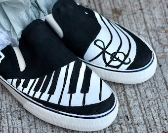 febbca42a970 Music Hand Painted Custom Canvas Shoes   Gifts for Her   Music Shoes  Music  Lover   Piano Shoes   Rock  Sneakers   Slip-ons   Hand Made