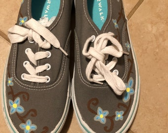 b0498d4a56bb4a Ready to Ship Flower Hand Painted Custom Canvas Shoes   Gifts for Her    Flower Shoes   Floral Shoes   Floral   Blue  Sneakers   Slip-ons