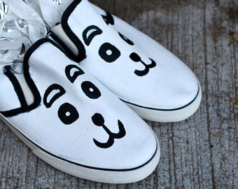 23920c9fb5c4 Panda Hand Painted Custom Canvas Shoes   Gifts for Her   Panda Shoes    Animal Shoes   Cute   Cartoon   Sneakers   Slip-ons   Hand Made