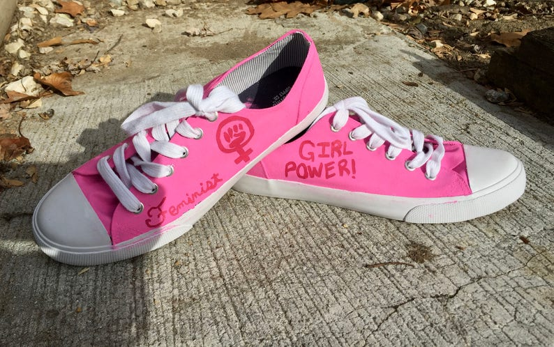 9080548d097699 Feminist Hand Painted Custom Canvas Shoes   Gifts for Her