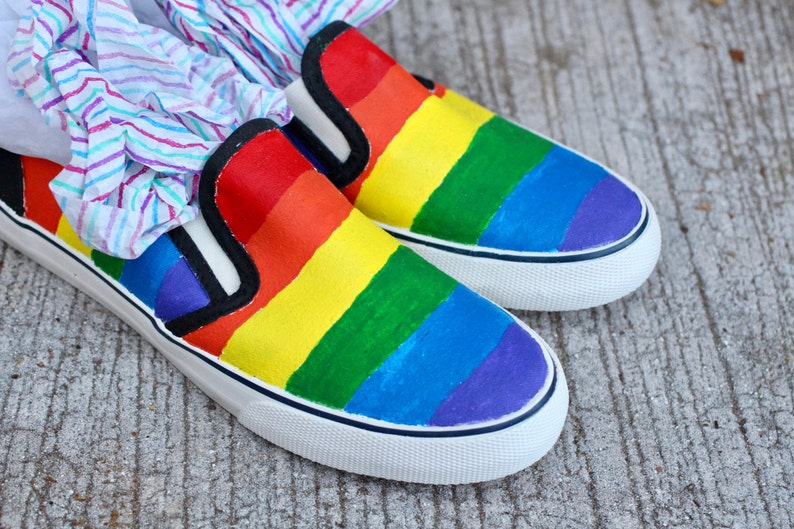 d8c7741057 LGBT Pride Hand Painted Custom Canvas Shoes   Gifts for Her