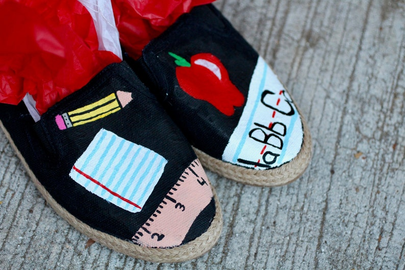 92083af679d38 Teacher Hand Painted Custom Canvas Shoes / Gifts for Her / #1 Teacher /  School / Education / Teacher Shoes / Sneakers / Slip-ons / Hand Made