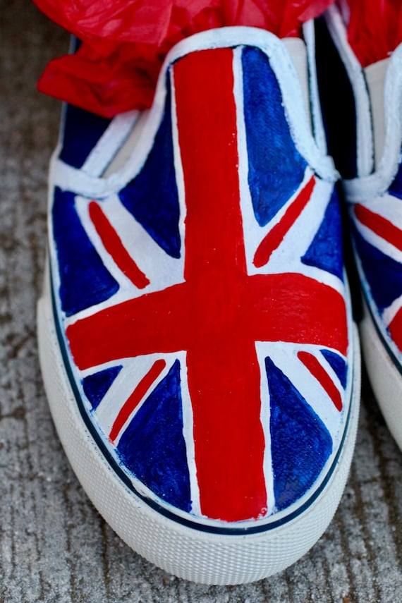 a73a52b1979771 British Flag Hand Painted Custom Canvas Shoes   Gifts for Her