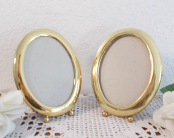 Vintage Oval Gold Brass Picture Frame Set Photo Decoration Midcentury Hollywood Regency Home Decor Rustic Shabby Chic Wedding Gift Him Her