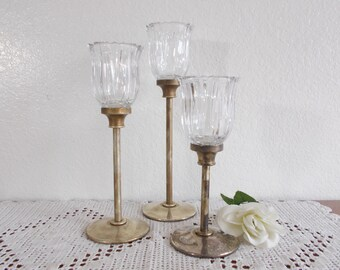 Vintage Godinger Silverplated Candle Holder Set Trio Table Collection Mid Century Rustic Shabby Chic Country Romantic Cottage Home Decor