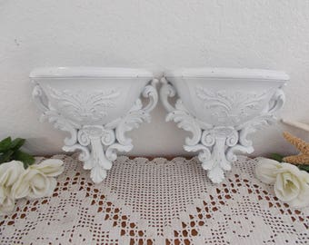White Shabby Chic Wall Pocket Set Up Cycled Vintage Planter Pair Floral Fleur de lis Paris French Country Romantic Cottage Home Decor Gift