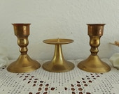 Vintage Gold Brass Unity Wedding Candle Holder Set Taper Pillar Trio Collection Mid Century Hollywood Regency Retro Bungalow Home Decor