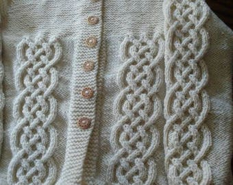 Celtic Cabled Knit Cardigan with Hood