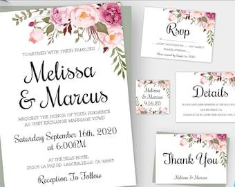 Floral Boho Wedding Invitation Template Set, Printable Invitation Suite, Printable Bohemian Wedding Kit, Editable Wedding Invitation, WBBH