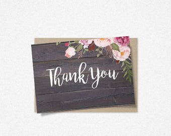 Rustic Floral Thank You Card Template, Barn Wood Wedding Thank You Cards, Printable Rustic Thank You Cards, Instant Download
