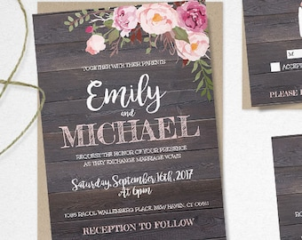 Rustic Floral Bridal Shower Invitation Template Pink Floral