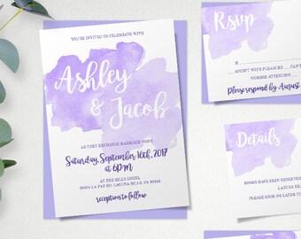 navy blue watercolor wedding invitation template set navy etsy