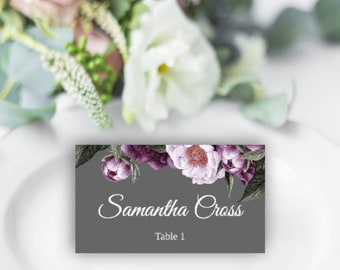 Instant Download Wedding Place Card Template Tent Plum /& Lilac Beloved Hearts and Swirls   EDITABLE TEXT PDF   Printable Place Cards