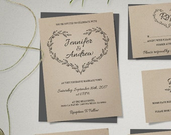 Kraft Wedding Invitation Template, Rustic Wedding Printable Invitation, Rustic Invitation, Editable Invitation, Instant Download