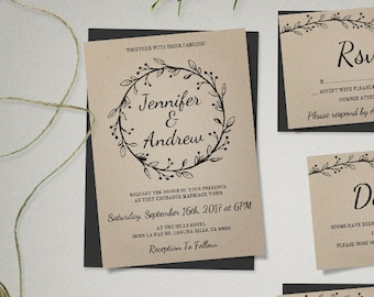 Rustic Wedding Invitation Template Suite with Wreath, Kraft Wedding Invitations, Printable Wedding Invitations, Rustic Invitation Set