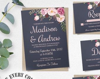 Blue Floral Wedding Invitation Template Set, Floral Wedding Invite, Instant Download, Printable Invitation, Easy to Edit Wedding Invites