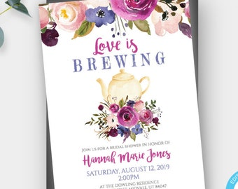 d58586a518fb Pink Floral Love is Brewing Invitation Template Tea Party Invitation  Printable Tea Invitation for Bridal Shower DIY Editable Invitation