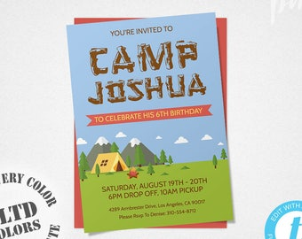Camping Birthday Invitation Template, Camping Invitation, Boy Camping Party, Camping Invite, Camp Birthday Party, Birthday Camp Invitation