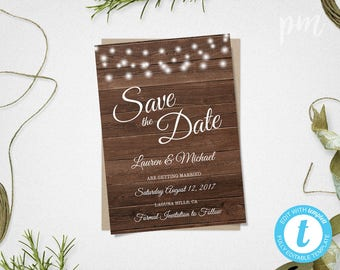 rustic save the date wedding template instant download rustic save the date card printable diy save the date rustic wedding