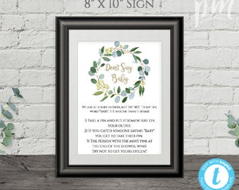 Greenery Baby Shower Game Set Baby Shower Game Templates Etsy