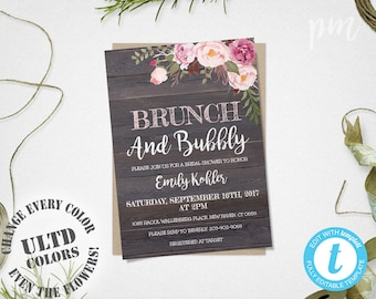rustic floral brunch and bubbly invitation bridal shower invitation country chic invite pink floral bridal shower invite downloadable