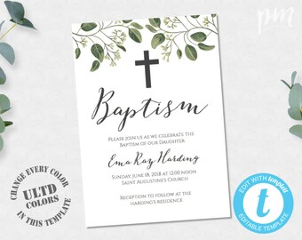 Boy Baptism Invitation Greenery Baptism Invitation Printable Etsy