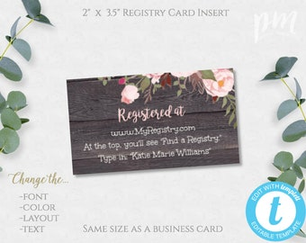 baby registry card etsy
