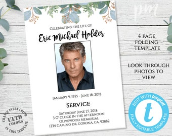 Mens Funeral Program Editable Memorial Service Template Order Of Printable Foldable