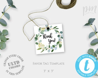 Greenery Favor Tags Template Printable Wedding Thank You Baptism Gift Instant Download Baby Shower