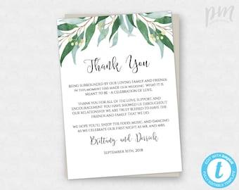 Floral Boho Wedding Thank You Card Template Printable Thank Etsy