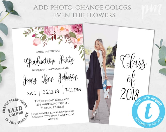 Graduation Party Invitation Template | Graduation Invitation Graduation Invite Template Graduation Party