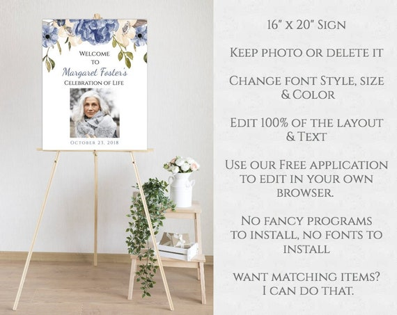 picture regarding No Pets Allowed Except Service Animals Sign Printable called Blue Floral Funeral Welcome Indication Template, Printable Funeral Template, Editable Party of Lifestyle Indicator, Memorial Provider Down load, BFF3