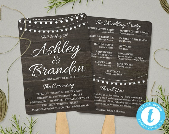 Rustic Wedding Program Fan Template String Lights Ceremony Fans Editable